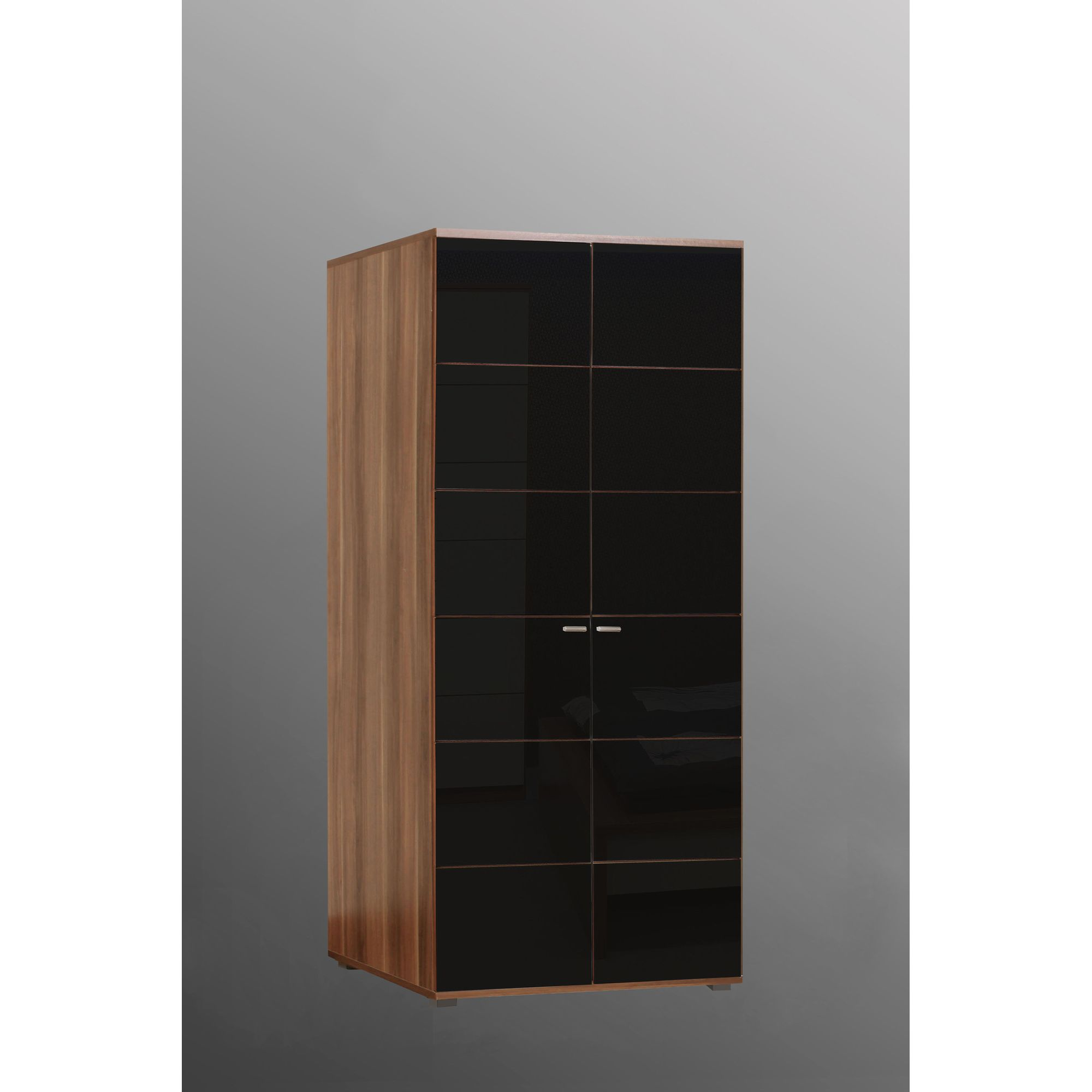 Ideal Furniture Anemone Two Door Wardrobe - Walnut with Black Gloss at Tesco Direct