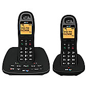 BT 1500 Twin Cordless With Answer Machine Telephone , Black