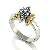 18ct White Gold with yellow gold accents 10x5 Marquise Moissanite Ring