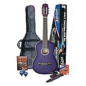 Ashton SPCG34TP ¾ Size Classical Guitar Starter Pack (Trans Purple)