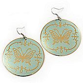 Pale Green Round 'Butterfly' Drop Earrings - 6cm Length