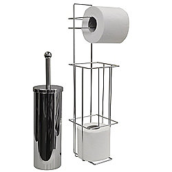 Valencia - Chrome Toilet Brush + Loo Roll Dispenser - Silver