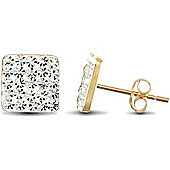 Jewelco London 9ct Gold Clear Sparkling Crystal set 8 x 8 mm Square Studs