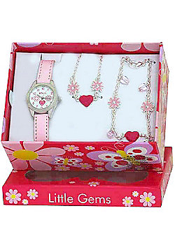 Girls Pink Heart and Flower Watch and Jewellery Gift Set