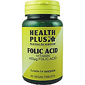 Health Plus Folic 400ugVegan 60 Veg Tablets