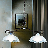 Ferroluce Mantova 2 Light Pendant in Blue / Black Copper