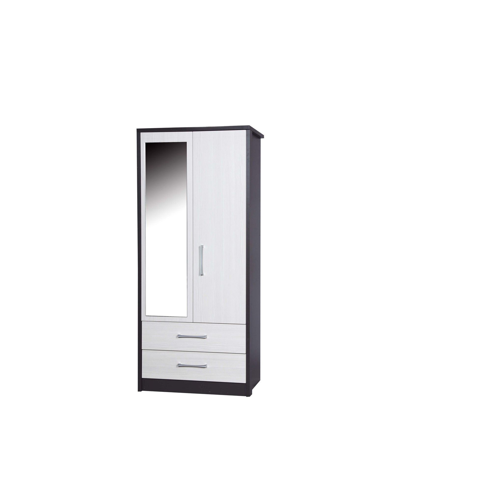 Alto Furniture Avola 2 Drawer Combi Wardrobe with Mirror - Grey Carcass With White Avola at Tesco Direct