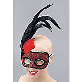 Red Side Feather Mask