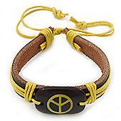 Unisex Dark Brown/ Yellow Leather 'Peace' Friendship Bracelet - Adjustable