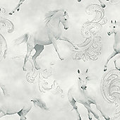 Camarillo Horse Wallpaper- Grey - Arthouse 667300