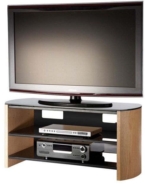 Buy Light Oak Wood Veneer TV Stand For Screens Up To 50