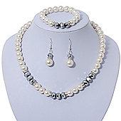 White Glass Pearl Bead Necklace, Flex Bracelet & Drop Earrings Set With Diamante Rings & Metallic Grey Beads - 38cm Length/ 6cm Extension