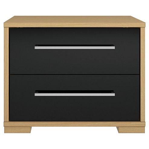 Modular Oak 2 Drawer Chest With Black Gloss Drawers