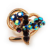 Tiny Deep Purple Crystal Heart Pin In Gold Plated Metal