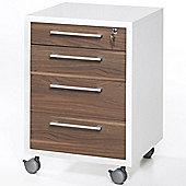 Peak - Mobile Lockable 4 Drawer File Table / Chest - White / Walnut