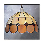 Loxton Lighting Bistro Uplighter in Biege and Brown - 25 cm