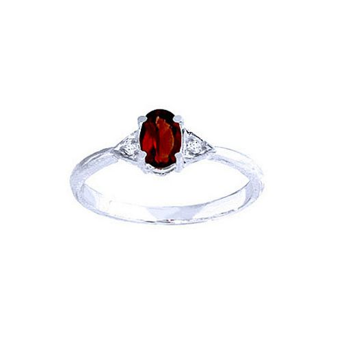 QP Jewellers Diamond & Garnet Allure Ring in 14K White Gold - Size A