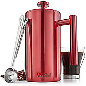 VonShef Red Stainless Steel Double Wall Cafetiere Filter Coffee Maker Plunger