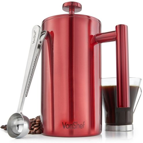 buy vonshef red stainless steel double wall cafetiere filter coffee maker plunger from our. Black Bedroom Furniture Sets. Home Design Ideas