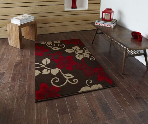 Oriental Carpets & Rugs Modena Brown/Red Budget Rug - 70 cm x 140 cm (2 ft 3 in x 4 ft 7 in)