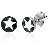 Urban Male Men's White Star Stainless Steel Stud Earrings 7mm