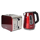 Igenix IGPK10 Breakfast Set Kettle and 2 Slice Toaster - Metallic Red