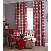 Catherine Lansfield Home Cotton Rich Twill Check Red Curtains 66x90