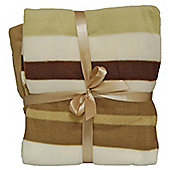 Cozy Time Twin Pack Fleece Blanket - 120cm x 150cm Brown Striped