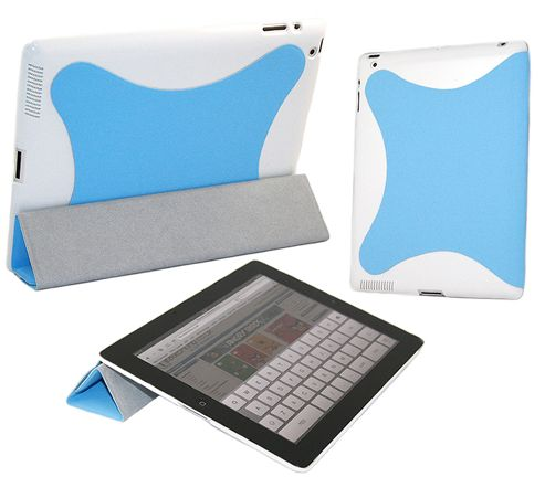 iTALKonline 19130 Blue White Hard Smartie Case/Cover (Front & Back) - Apple iPad 2 16gb 32gb 64gb