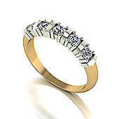 18ct Gold 5 Stone Bar Set Moissanite Ring