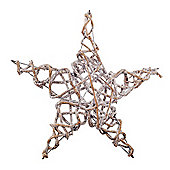 Large Frosted Silver Natural Wicker 50cm Christmas Star