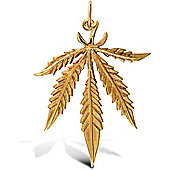 Jewelco London 9ct Solid Gold super light weight Cannabis Leaf design Pendant