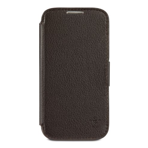 Belkin Premium Leather Folio with stand function and card slots for Samsung S4 in Dark Brown