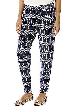 F&F Zigzag Print Trousers - Blue