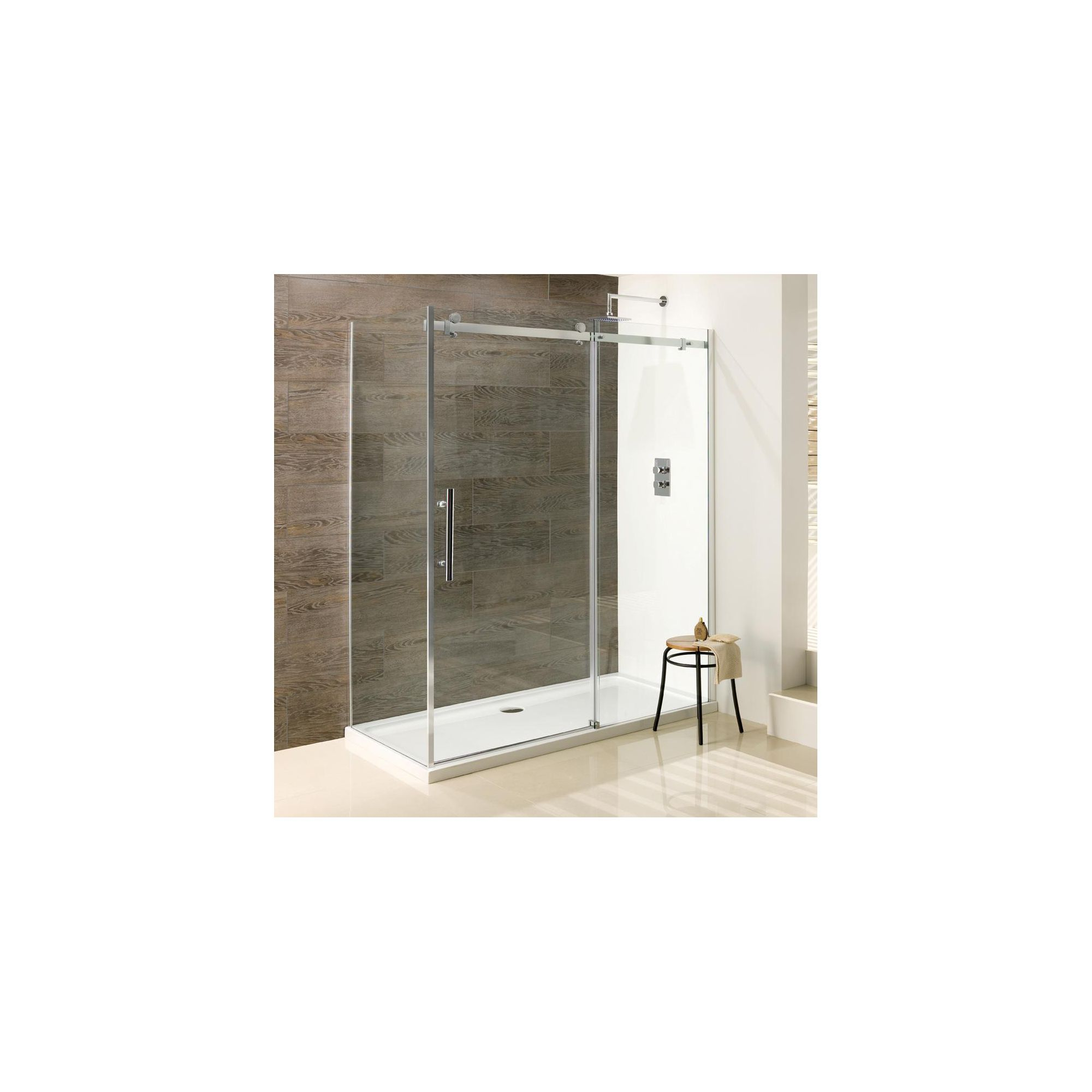 Duchy Deluxe Silver Sliding Door Shower Enclosure with Side Panel 1100mm x 760mm (Complete with Tray), 10mm Glass at Tesco Direct