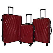 Luggage Zone Honeycomb 4-Wheel Red 3pc Suitcase Set