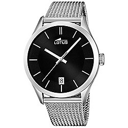 Lotus Mens Silver Stainless Steel Date Luminous Hands Watch L18108/2
