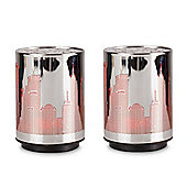 Pair of Battery Operated RGB Colour Changing LED New York Skyline Table Lamps, Chrome