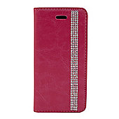 "Tortoiseâ""¢ Look Faux Leather Decorative Notebook Case, iPhone 5/5S, Diamante Strip design, Pink"
