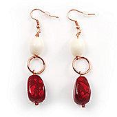 Fancy Bead Drop Earrings (Red&White)