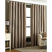 Tobago Ready Made Eyelet Curtains - Fully Lined -Mocha,Natural,Burgundy & Silver - Brown
