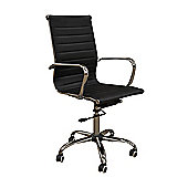Eames Style High Back Ribbed Black Faux Leather Office Chair