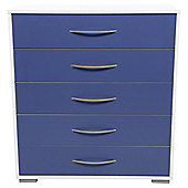 Newport 5 Drawer Chest Blue