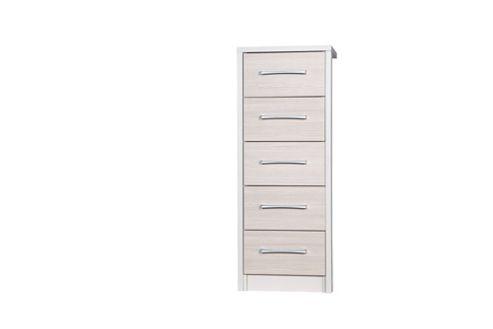 Alto Furniture Avola 5 Drawer Tall Boy Chest - Cream Carcass With Champagne Avola