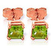 QP Jewellers 0.75ct Peridot Alexandra Stud Earrings in 14K Rose Gold