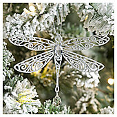 Weiste Glitter Silver Dragonfly Christmas Tree Decoration