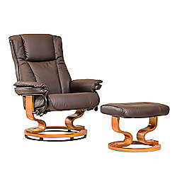 Sofa Collection Combault Swivel Chair And Footstool - Brown