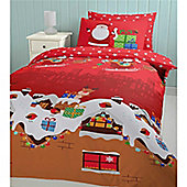 Catherine Lansfield Cosy Corner Christmas Santa's Christmas Presents Multi Coloured Single Cotton Rich Quiltset