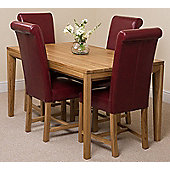 Bevel Solid Oak 150 cm with 4 Washington Leather Chairs (Burgundy)