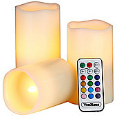 VonHaus Set of 3 Real Wax Flickering Flameless Mood LED Colour Changing Battery Operated Candles
